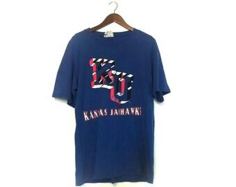 Vintage paper thin soft KU Kansas University Jayhawks tshirt