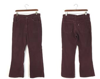 70's vintage levi's 646 bargundy flare pants corduroy pants made in usa size w34 bargundy color