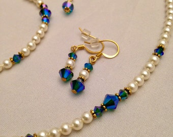 Gorgeous Swarovski Pearl and Crystal 3-Piece Jewelry Set