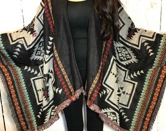 tribal kimono, tribal coverup, long oversized coverup, kimono cardigan, shawl, wrap, gift idea, boho kimono, tribal kimono cardigan
