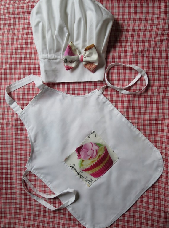 child chef apron and hat set for baby girl 6 18 months chef. Black Bedroom Furniture Sets. Home Design Ideas