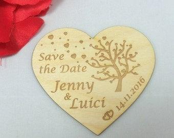 Herz Karte Save The Date Einladungskarte Aus Holz Gravur Individuell Mit  Magnet