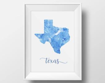 Texas digital print - Texas printable poster Texas watercolor poster Texas art print watercolor Travel Decor Gift for travel lover print art