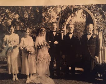 Antique 1920's Wedding Party Photograph - Collectible Original Vintage Bridal Boutique and Period Film Prop