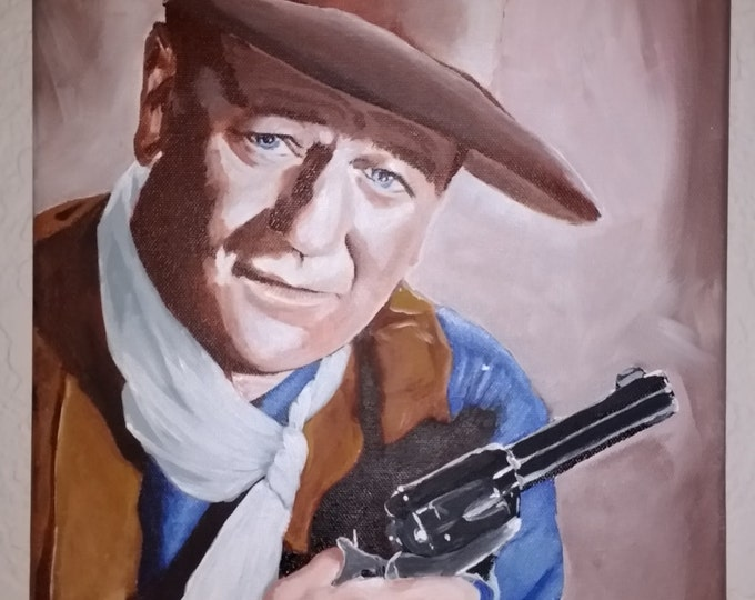 Painting, acrylic painting, John Wayne, movie, actor portrait, gift idea , ready to ship, wall decor, painting from photos, western, cowboy