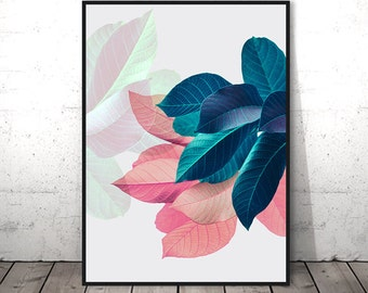 Pink Leaves Wall Art, Housewarming Gift, Pastel Pink and Blue, Girlfriend Printable Gift, Modern Plant Print, Tropical Leaf Printable Poster