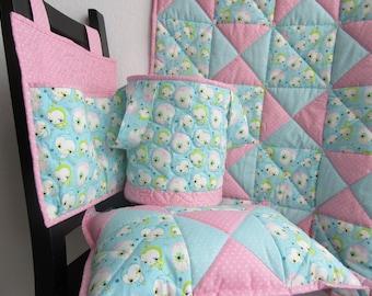 Set: baby blanket + pillow + toy bag + bed bag