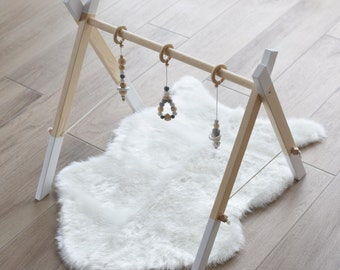 Baby Gym With 3 Toys / Activity Center / Stylish and Natural Nursery Decor / Baby Activity Gym / Wooden Frame