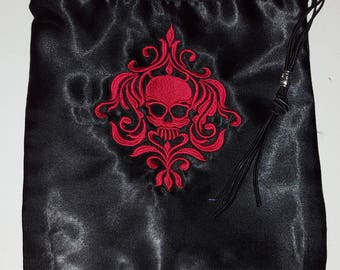 Embroidered Black Satin Drawstring Pouch Bag - Skull Damask Design