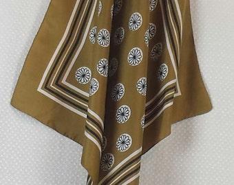 PIERRE CARDIN daisy motif silk scarf in olive green and white - (medium size) designer, genuine