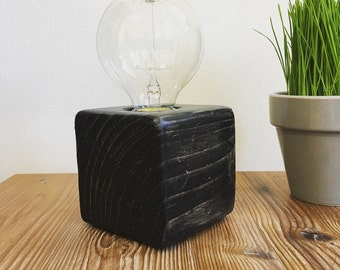 The Navin- Distressed wood block lamp