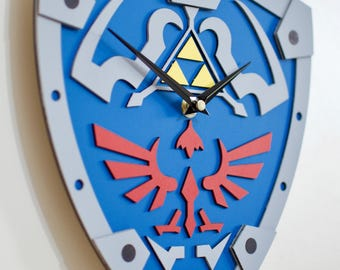 Legend of Zelda inspired wall clock Hylian shield Ocarina of time Link Gift Present