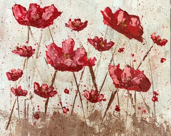 Red Poppies painting. Abstract Poppies painting