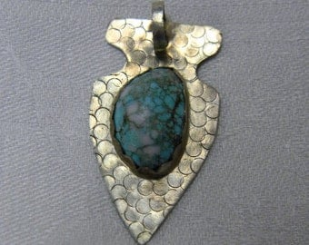 Vintage Handmade Silver & Turquoise Arrowhead Pendant Native American Indian Jewelry  Pounded Silver South Western