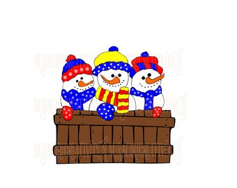 3 snowmen on a fence  Christmas SVG Cut file christmas  cut filescrapbook vinyl decal wood sign cricut cameo Commercial use