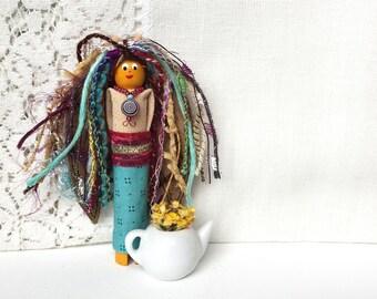 Worry Doll - Handmade Art Doll - Whimsical Angel - Don't Worry Doll - Worry Dolls - Gift for Her - Wooden Ornament - Folk Art Angel