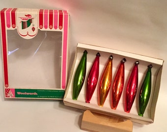 Vintage Woolworth's Christmas ornaments in original box ,  retro Christmas decorations red and green