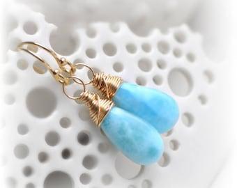 Larimar Earrings Gold, Larimar Dangle Earrings Gift for Her, Blue Larimar Gemstone Earrings Wire Wrapped 14k gold fill Handmade by Blissaria