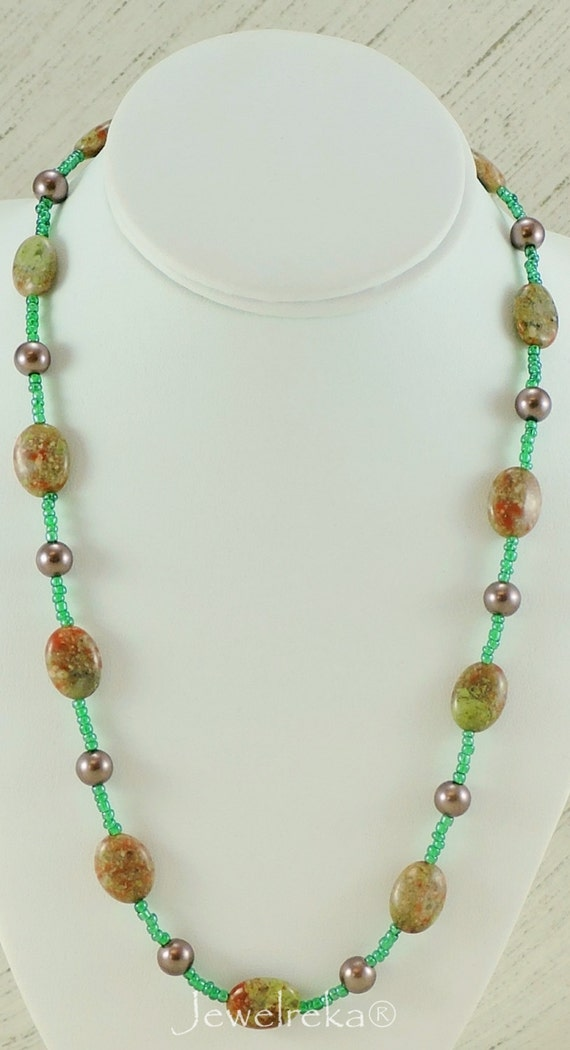 Green And Brown Necklace Gemstone Necklace Fall By