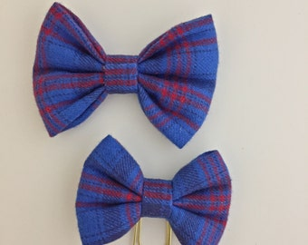 Blue and red plaid Bow and paper clip, Hairbow, Traveler's notebook, planners, plaid,