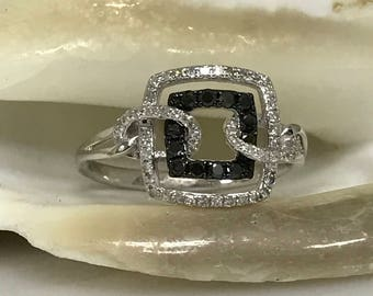 Contemporary Black and White Diamond Fashion Ring 14K White Gold #488