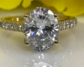 Oval  Moissanite Engagement Ring  2.72ct.  Forever One In 14k Yellow Gold#4804