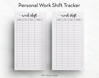 Work Shift, Personal Planner Inserts, Work Planner, Printable Planner, Work Tracker, Work Schedule, Daily Planner, Work Printable