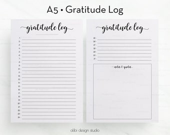 Gratitude Planner • Gratitude Log • Gratitude Printable Pages • A5 Planner Inserts • Daily Gratitude •  Daily Organizer • PDF Printable A5