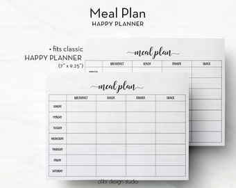 Meal Planner, Happy Planner, Meal planning, Weekly Meal Planner, Printable Planner, MAMBI, Meal Tracker, MAMBI Inserts, Mambi happy planner