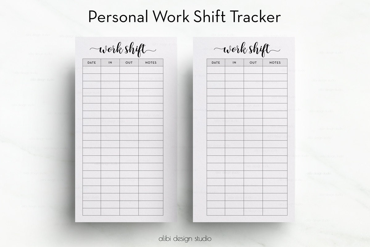 work shift tracker personal planner planner printable work