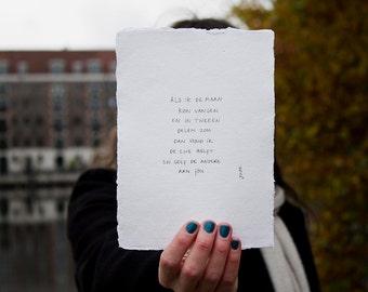 Moon | poem on cotton paper