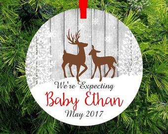 We're Expecting Baby Personalized Christmas Ornament - Expecting Ornament - Buck Doe Deer Christmas Ornament - lovebirdschristmas
