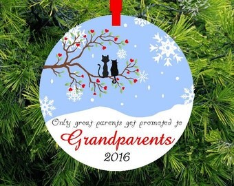 Only Great Parents Get Promoted To Grandparents First Christmas Ornament | Grandparent Christmas Gift | First Christmas Glass Ornament | OG1