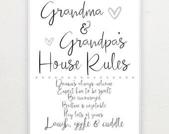 Grandparents house rules. A4 print.