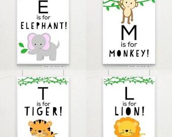 A5 safari jungle alphabet prints