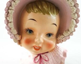 Baby Head Vase in Pink Bonnet