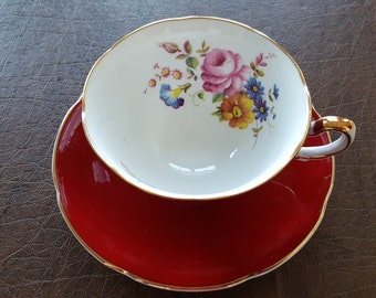 Royal Grafton Red Tea Cup & Saucer with Flowers made in England