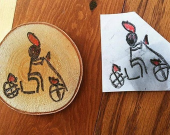 Kids Drawing Ornament, Child Artwork Ornament, Custom Ornament, Wood Slice Ornament, Personalized Stocking Stuffer, Handmade Christmas Gift