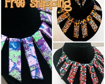 Free shipping + Reversible African Fabric Necklace with purple beaded accents and matching earrings , Ankara necklace, fabric necklace