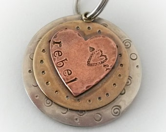 Layered pet id tag with a copper heart - Triple Layered Pet tag - Dog collar tag  -  Gift for pet lovers - pet id tag - pet accessories