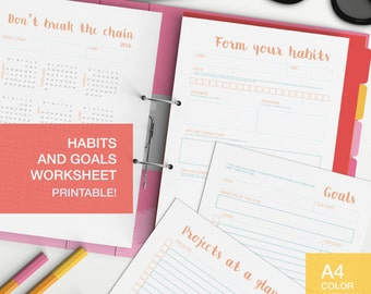 Habits and goals worksheet package