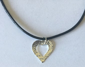 Sterling Silver Open Heart Pendant on Cord