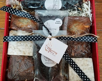 Thank You Gift Basket with Mocha Brownies, White Chocolate Crispy Bars, Coffee, Valentines Day Gift, For Boyfriend, For Girlfriend