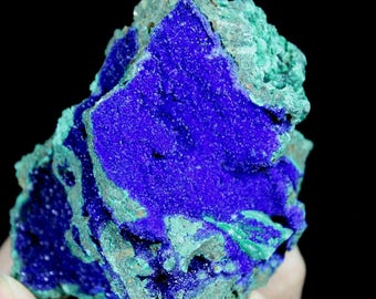 Beautiful Royal Blue Azurite on Green Malachite WITH DISPLAY STAND 692665 from Liufengshan Anhui China