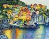 Landscape Painting,Watercolor,Manarola,Italy,Original Watercolor,Watercolor Art,Ocean,Fine Art,Gift Ideas,Giclee,Prints,Carol Lytle