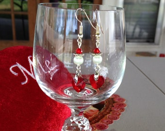 Elegant Red Glass Hearts for Valentine's Day