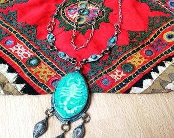 Ethnic tribal nomadic vintage afghan necklace, turquoise pendant, tribal fusion boho necklace