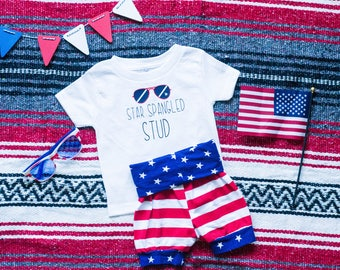 Star Spangled Stud, Baby 4th of July Outfit, 4th of July Baby Boy, Fourth of July Baby Boy, Fourth of July Baby, Red white and blue baby
