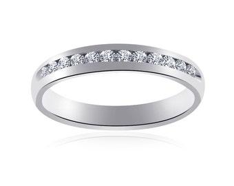 0.39 Carat Womens Round Cut Diamond Wedding Band 14K White Gold