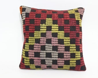 Antolian Kilim Pillow Throw Pillow 16x16 Geometric Kilim Pillow Home Decor Throw Pillow Cushion Cover SP4040-1723